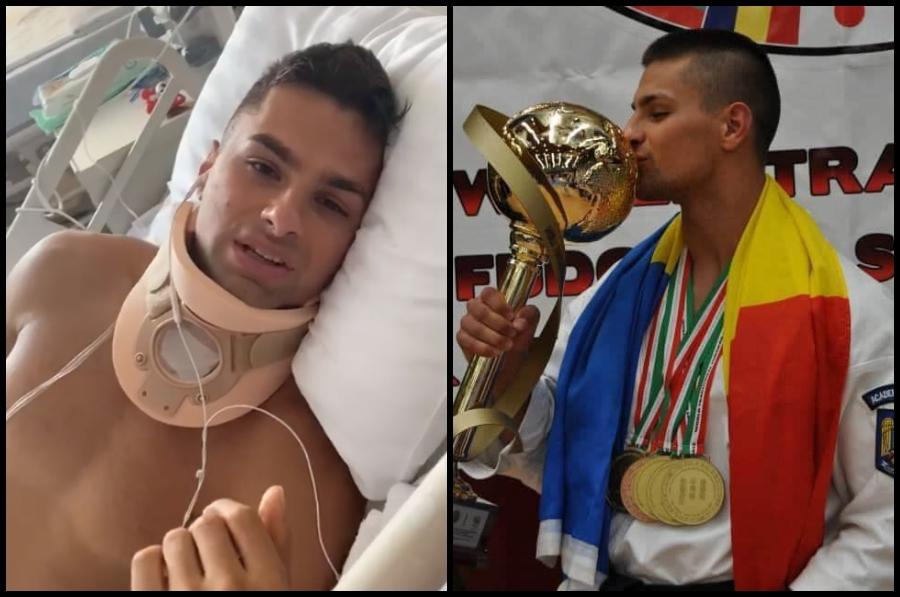 Apel pentru tânărul campion rămas paralizat după ce a sărit în piscină. Florin are nevoie de operație