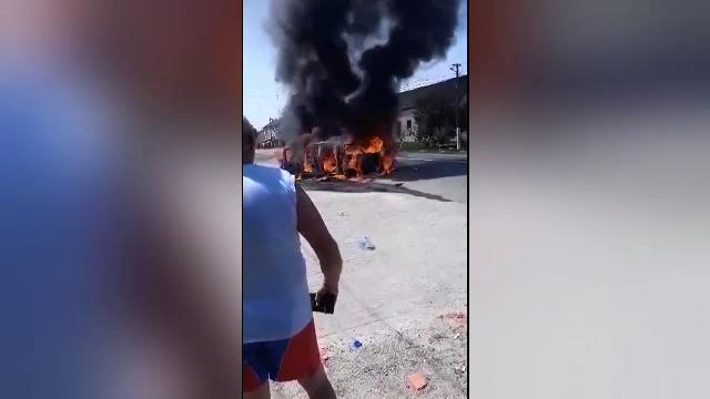 Accident groaznic în Arad. Un motociclist a murit după ce a luat foc