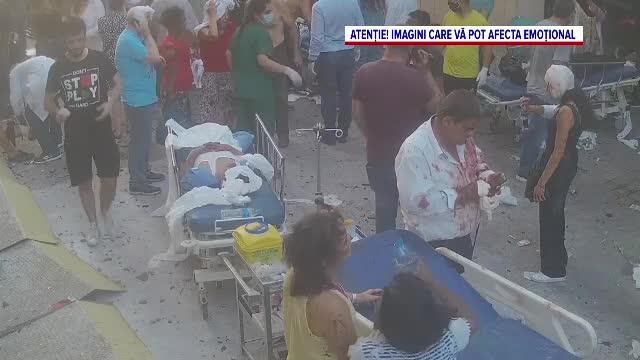 Momentul în care un spital din Beirut a fost distrus într-o secundă de explozia din port