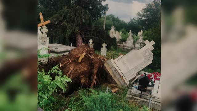 Vijeliile au devastat mai multe județe. Într-un cimitir din Gorj, crucile au fost scoase din pământ