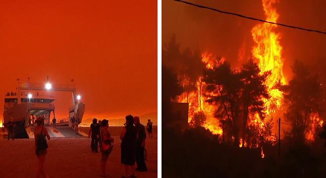 Insulă transformată în rug, în Grecia. Oamenii au fugit cu feribotul din calea incendiilor