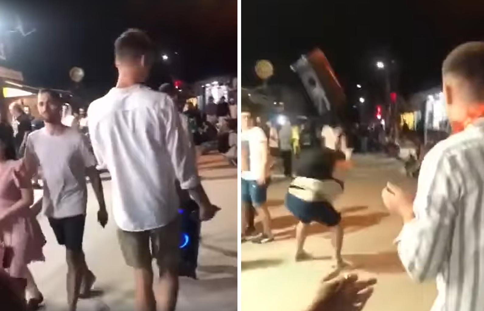 Reacția violentă a unui tânăr când a trecut pe lângă un grup de petrecăreți care ascultau manele pe stradă, în Vama Veche