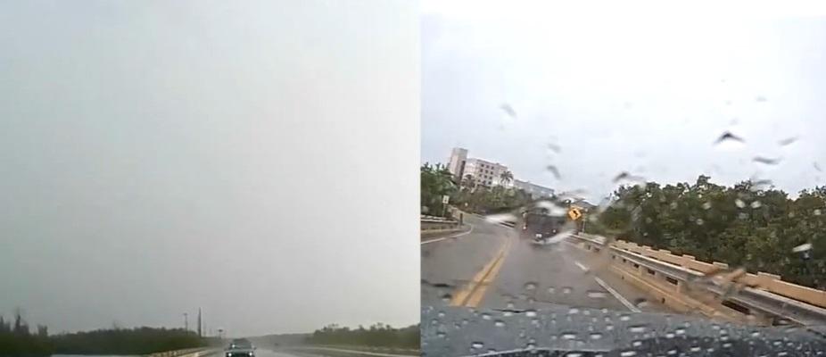 Momentul în care un fulger lovește în plin o camionetă. VIDEO
