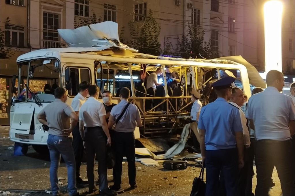 VIDEO. Momentul în care un autobuz explodează, în Rusia. Două persoane au murit și 17 au fost rănite