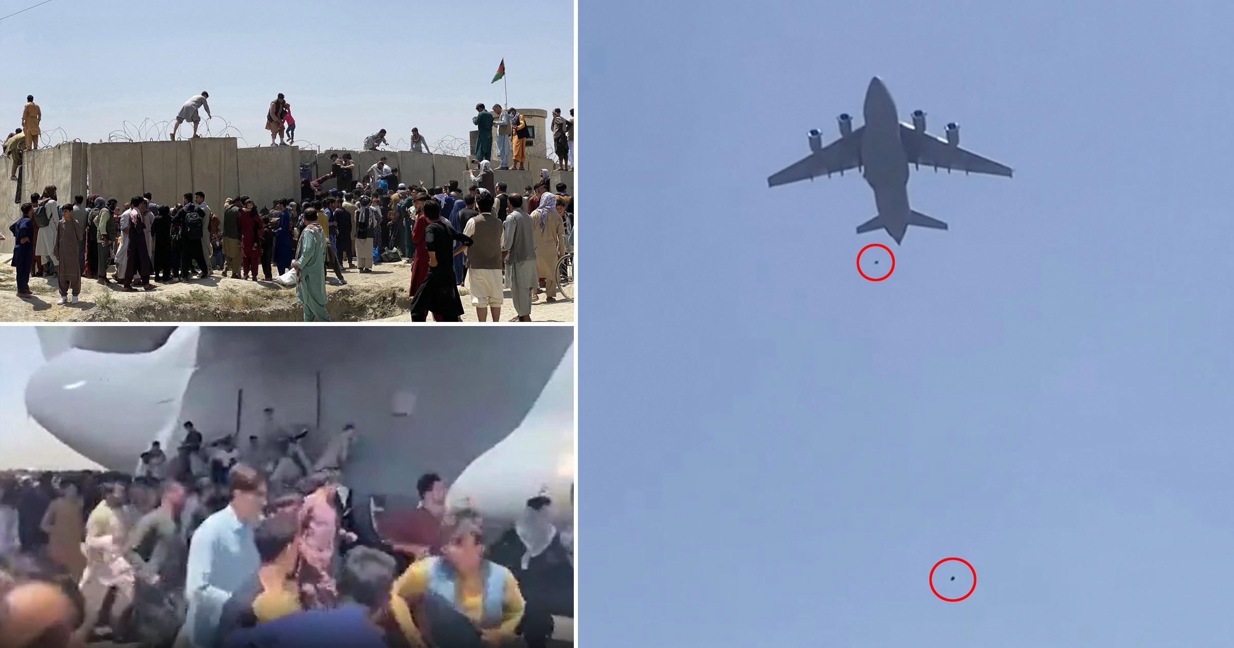 Momentul în care oameni cad dintr-un avion militar, încercând să fugă din Afganistan