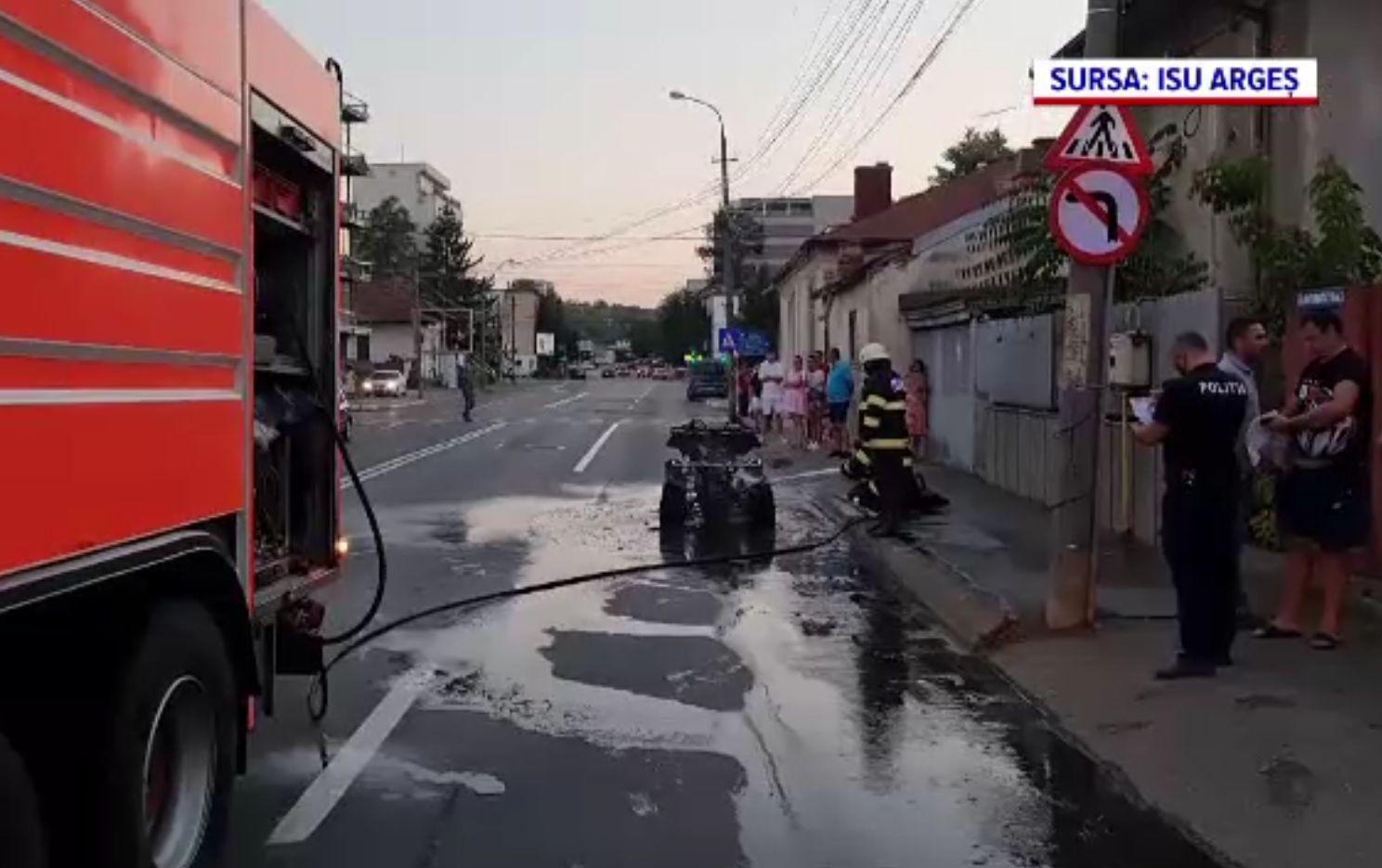 Un ATV nou-nouț a luat foc în Pitești. Proprietarul tocmai făcuse plinul