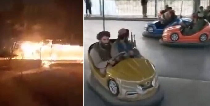 Talibanii, acuzați că au incendiat un parc de distracții, la câteva zile după ce s-au jucat cu mașinute. VIDEO