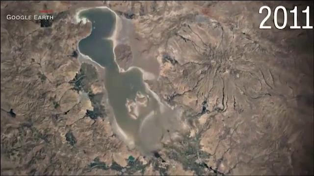 Cel mai mare lac cu apă sărată din Orientul Mijlociu, transformat într-un pustiu arid de nisip și sare