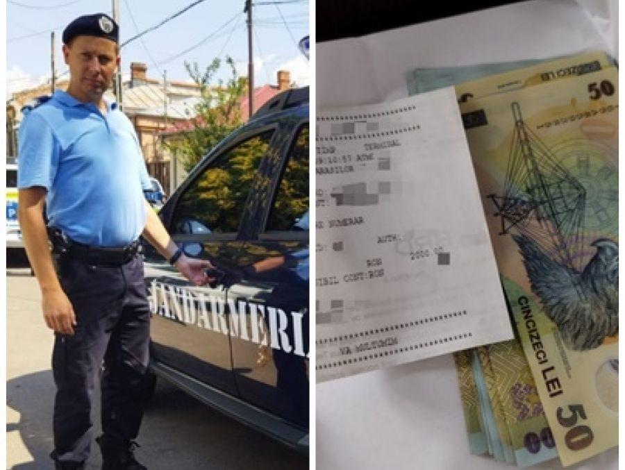 Un jandarm din Brăila a găsit 2.000 de lei într-un bancomat și i-a predat la Poliție. Ce se afla lângă bani