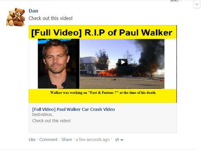 Mii de utilizatori de Facebook pacaliti cu filmulete false ilustrand moartea lui Paul Walker