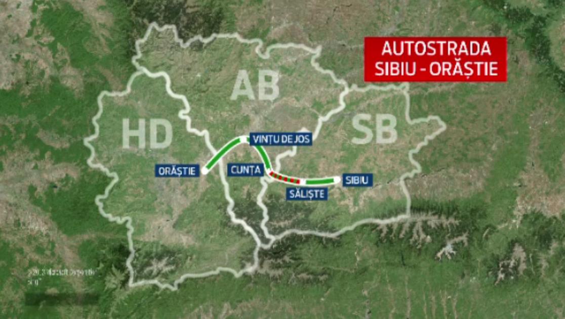 Inaugurarea unui tronson al autostrazii Orastie - Sibiu a fost sarbatorita cu artificii in Sebes