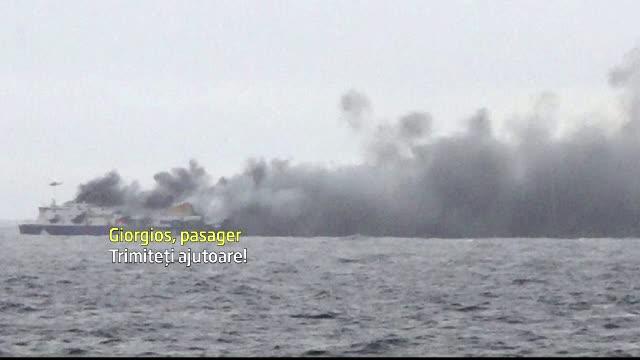Feribot in flacari, naufragiat in apele Greciei. O romanca aflata printre cei 477 de pasageri a fost salvata