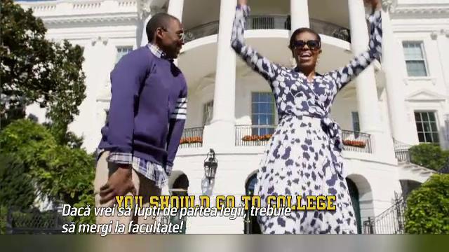 Michelle Obama ii convinge pe tinerii din Michigan sa nu renunte la scoala in ritmuri de rap. Ce spun versurile sale