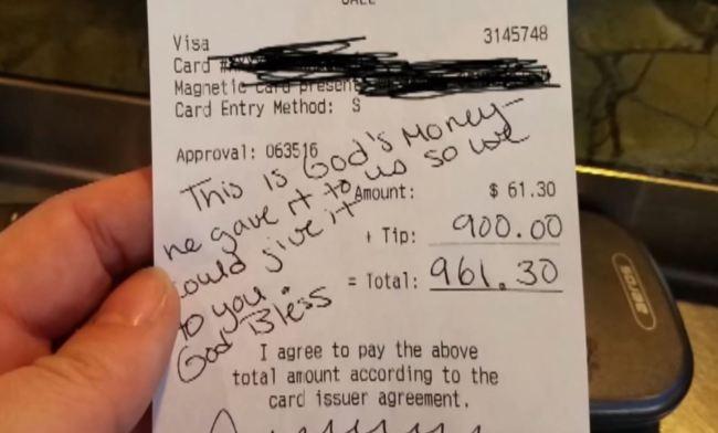 Bacsis urias pentru o chelnerita din Statele Unite.