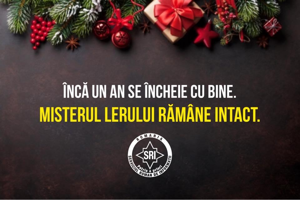 """Mesajul SRI de Anul Nou: """"Misterul lerului rămâne intact"""""""