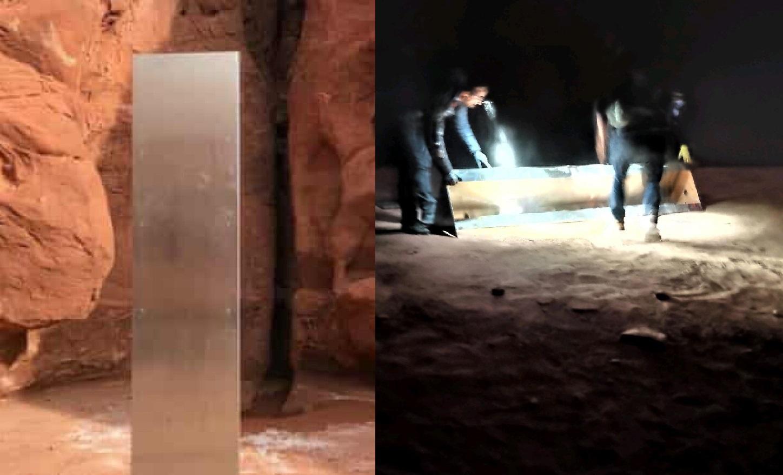 FOTO. Momentul în care monolitul din Utah a fost îndepărtat, surprins de un fotograf. Cine l-a luat