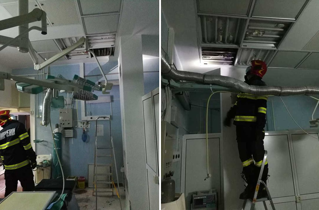 Foc în blocul operator al unui spital din Cluj Napoca. Înăuntru se afla un pacient