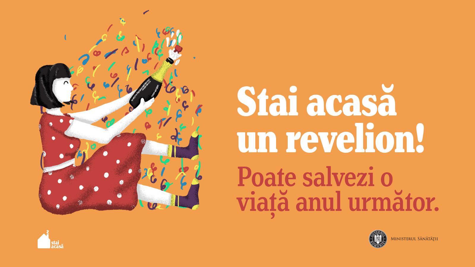 """Campanie a Ministerului Sănătăţii: """"Stai acasă un Revelion! O singură noapte cu prietenii poate costa o viaţă"""""""