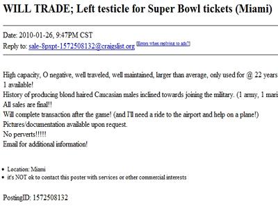 Si-a oferit testiculul stang, la schimb cu bilete pentru SuperBowl!