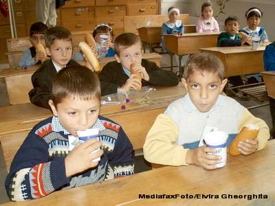 'Cornul si laptele': Elevii hranesc animalele si joaca fotbal cu ele