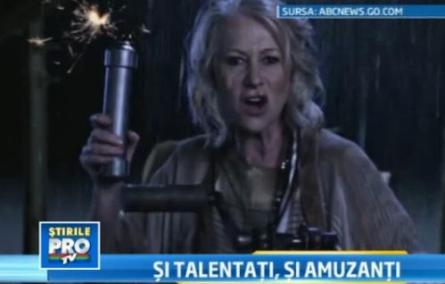 Parodie de Oscar: Meryl Streep cu mustata si Hellen Mirren pe post de luptator intergalatic