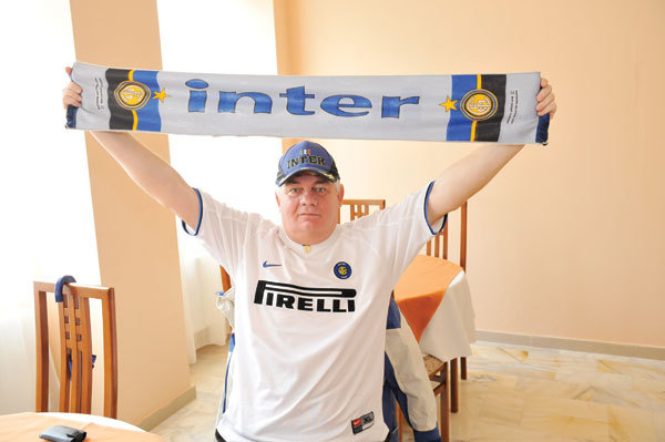 Sarut ecranul cand Inter da gol - masorul Universitatii Cluj tine cu italienii de 50 de ani