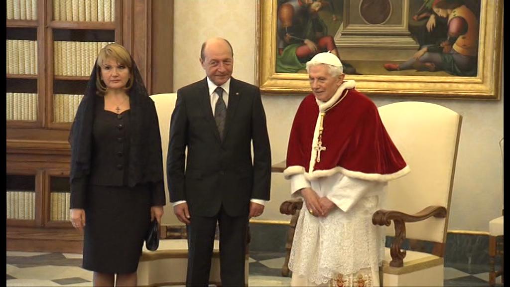 Traian Basescu s-a intalnit cu Papa Benedict al XVI-lea.