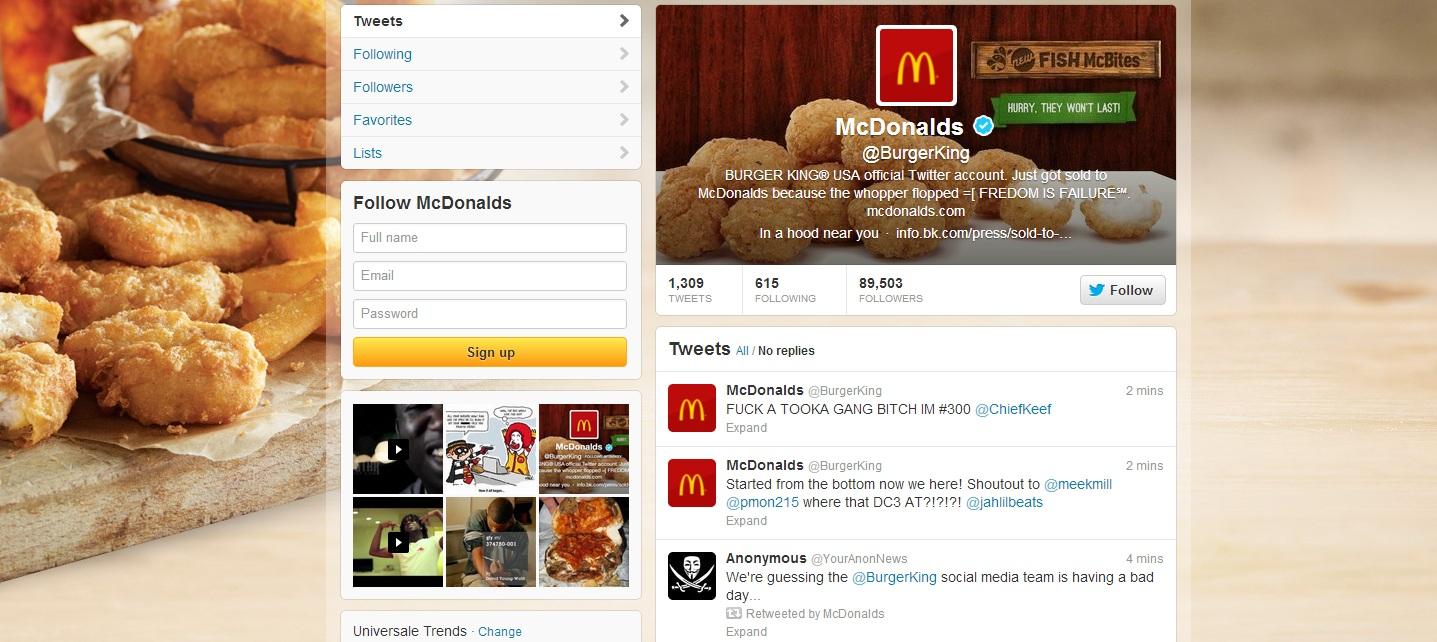 Un hacker a spart contul de Twitter al Burger King si l-a redenumit in