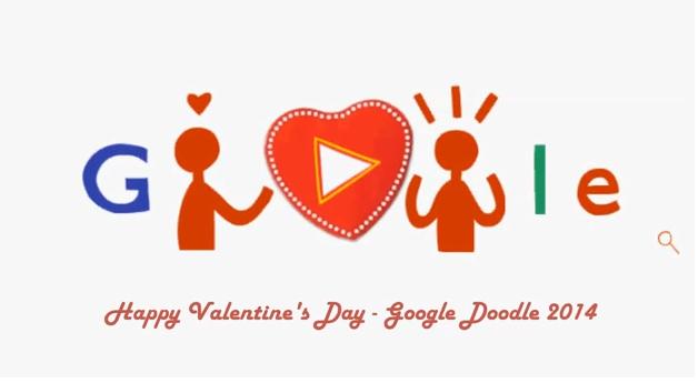 ZIUA INDRAGOSTITILOR 2014. Google sarbatoreste VALENTINE'S DAY printr-un DOODLE special