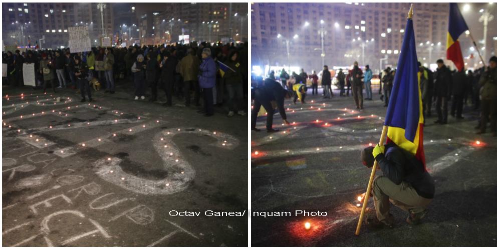 Mesaje scrise cu lumanari in a 19-a seara de proteste in Piata Victoriei. Oamenii au strigat timp de 40 de minute: