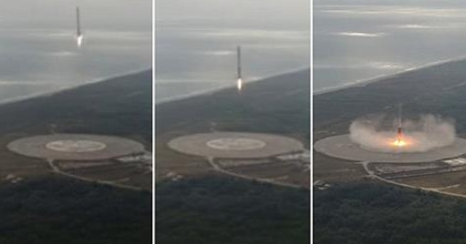Momentul in care racheta SpaceX Falcon 9 aterizeaza dupa ce a lansat o capsula Dragon catre ISS, surprins cu o drona. VIDEO