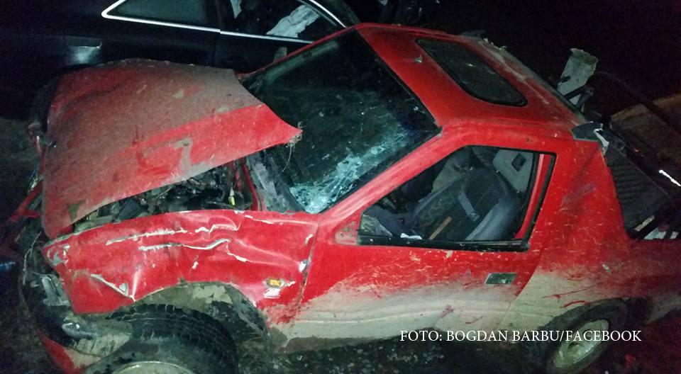 Accident grav la Calimanesti, din cauza unui sofer baut si fara permis. Omul luase si 4 minori in masina