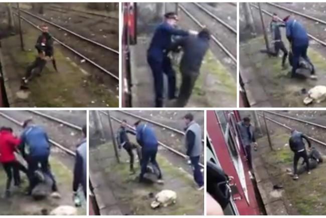 Scandal într-un tren. Un controlor a fost surprins în timp ce lovește un bărbat. VIDEO