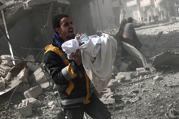 Enclava Ghouta de Est, după bombardamentele lui al-Assad
