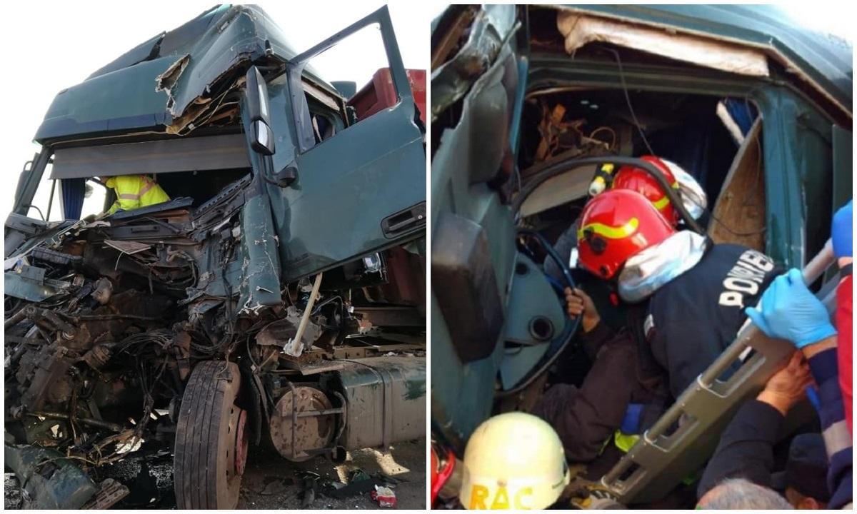 Șofer de TIR, strivit în cabină după un impact violent pe DN 7, la Simeria