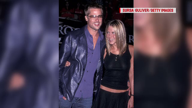 Brad Pitt, fotografiat cu Jennifer Aniston. Amândoi au divorţat recent