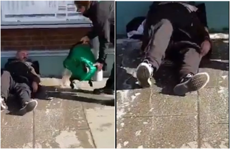 Imagini șocante. Trecătorii sunt îngroziți de cum e umilit un om al străzii. VIDEO