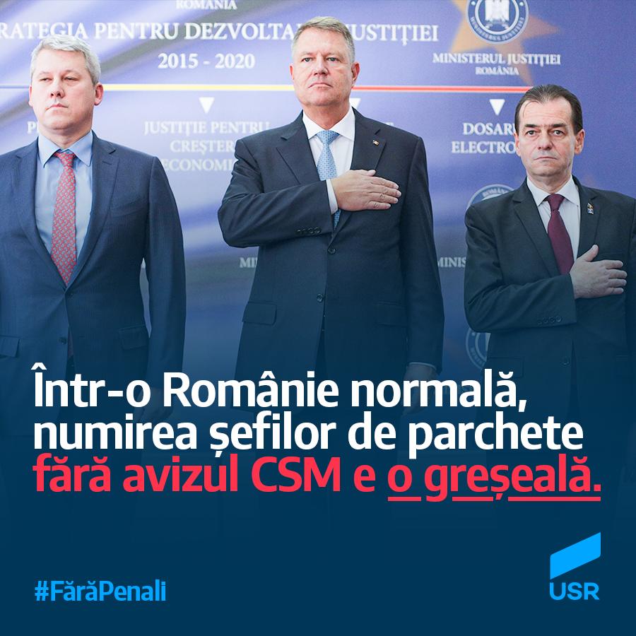 USR: Într-o Românie normală, procurorii-şefi nu pot fi numiţi fără avizul CSM
