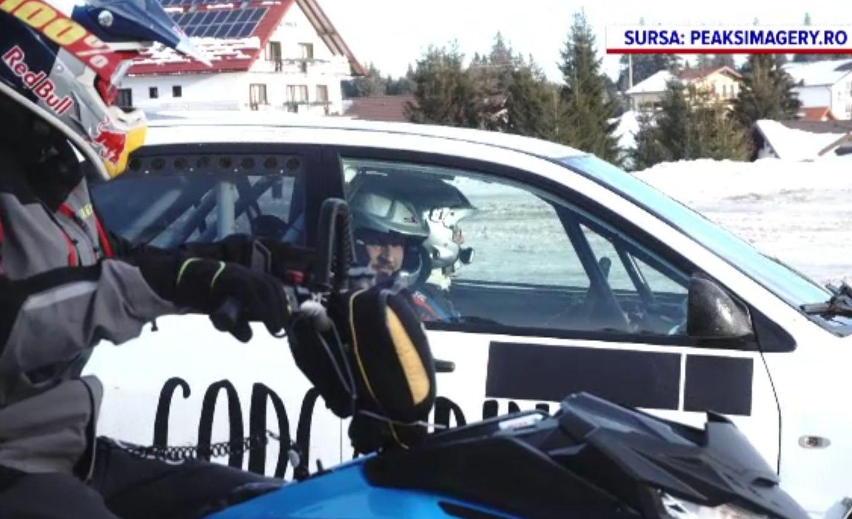 Concurs inedit între snowmobil și mașină de curse, la Păltiniș. Care este mai rapid