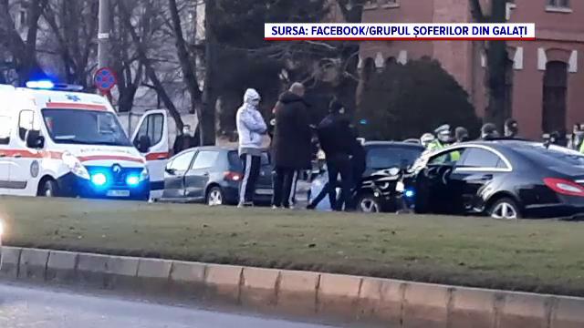 Accident în lanț cu șapte mașini, surprins de camerele de supraveghere la Galați. VIDEO