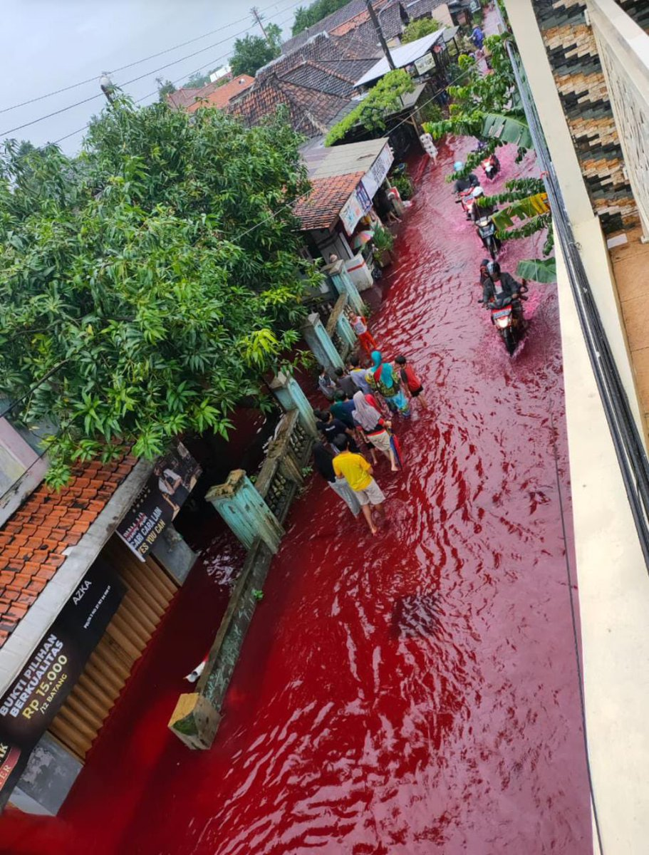 Un râu roșu ca sângele a inundat un sat indonezian. Explicația din spatele fenomenului