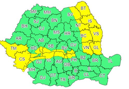Vreme severă în Banat, Carpații Meridionali și Moldova. Cod galben de vânt, ploi și polei