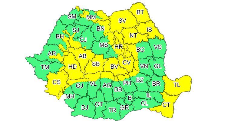 Cod galben de vânt şi polei în peste trei sferturi din ţară, până marţi după-amiaza; informare de ploi în rest