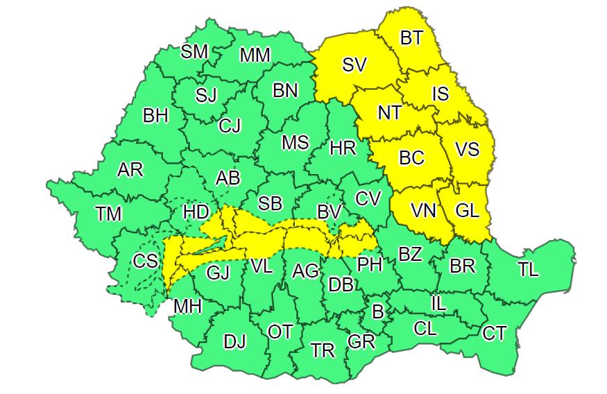 ANM: Cod galben de vânt în 19 judeţe, până marţi dimineaţa. Informare de ger în majoritatea regiunilor