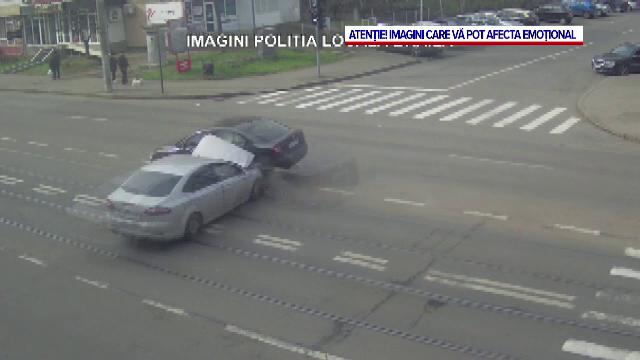 Impact nimicitor într-o intersecție din Brăila, după ce un șofer băut a trecut pe roșu