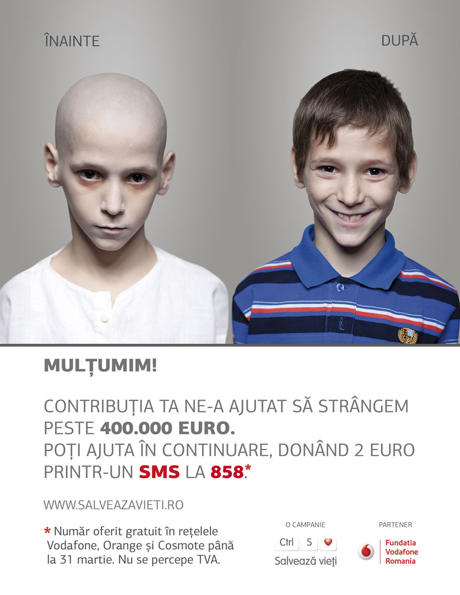 Doneaza 2 euro prin SMS la 858 si poti salva un copil bolnav de cancer