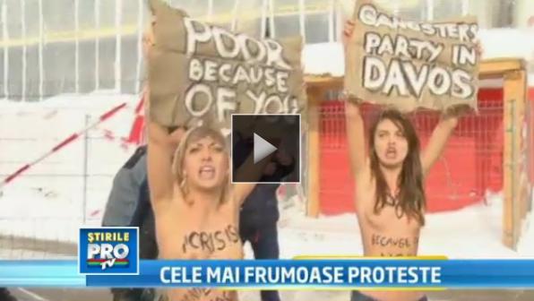 Ucrainencele protesteaza din nou topless. De data aceasta la Forumul economic de la Davos