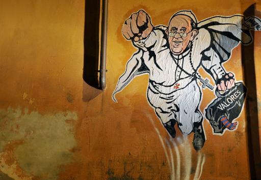 Vaticanul a publicat pe Twitter o imagine graffiti in care Papa Francisc apare in rol de Superman