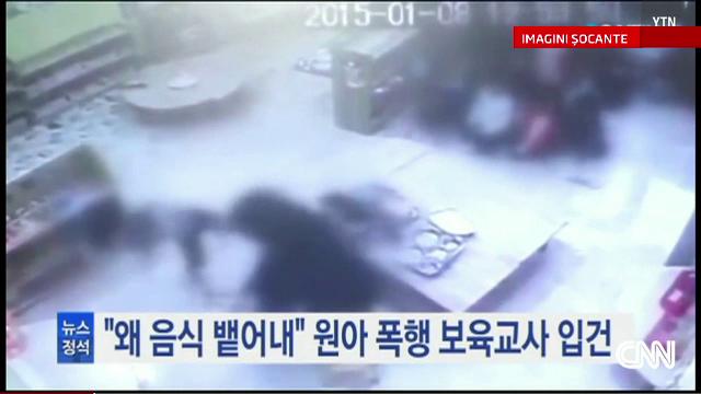 Fetita lovita cu brutalitate la o gradinita din Coreea de Sud. Ingrijitoarea s-a enervat pentru ca nu voia sa manance