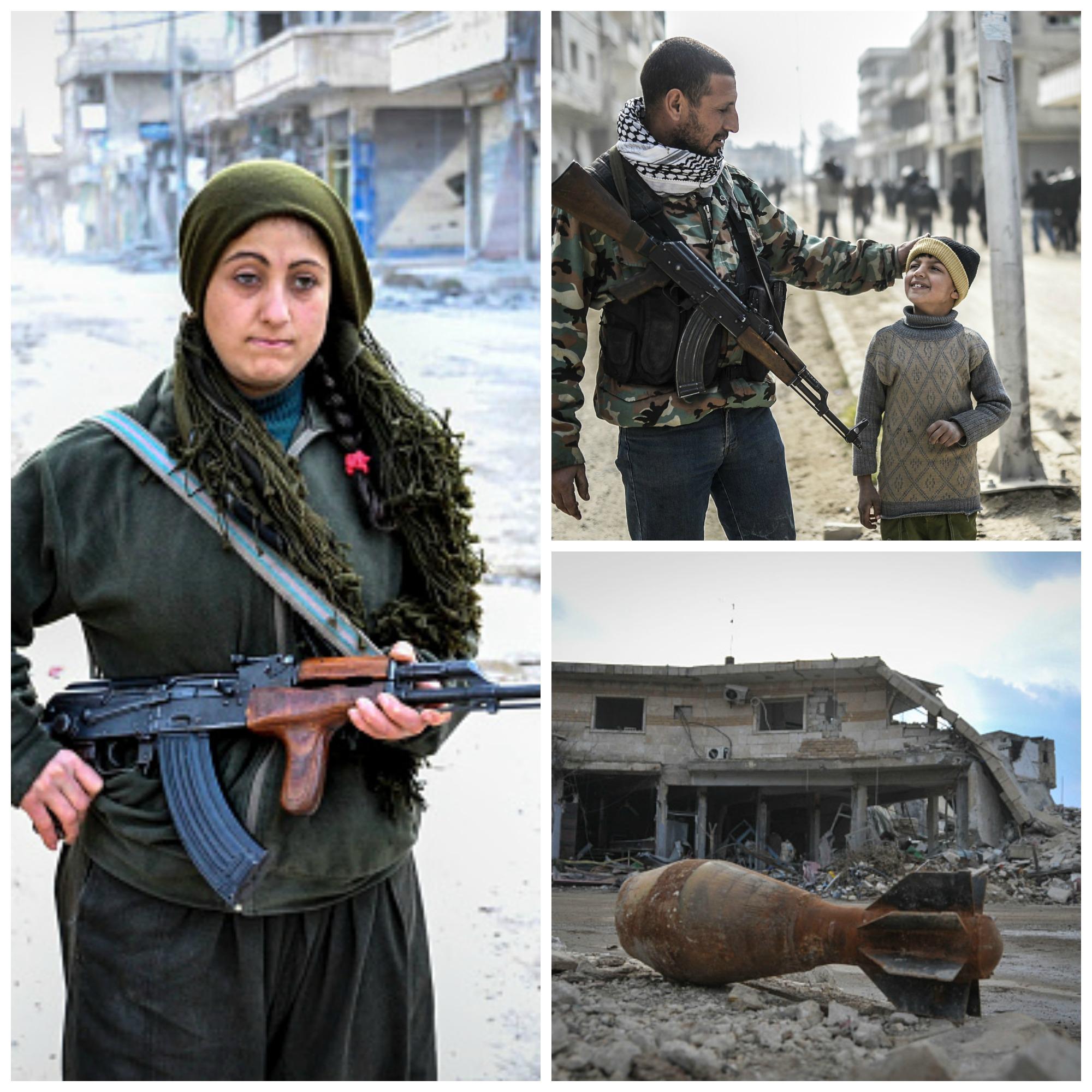 Cum arata orasul Kobane dupa patru luni de lupte. Soldatii kurzi au dansat printre ruine dupa